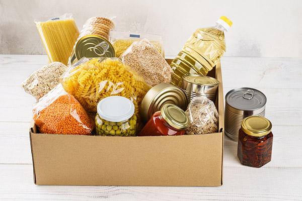 Box of donated food