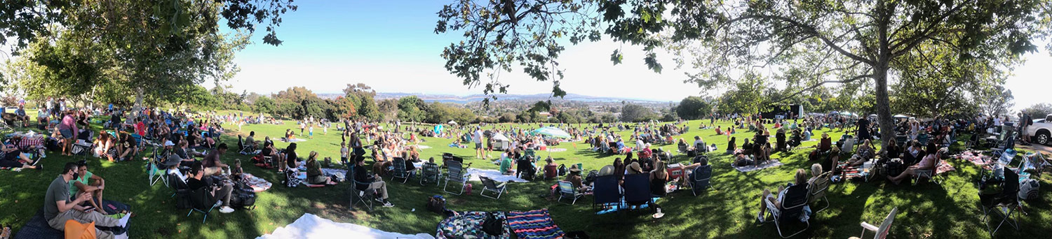 Panoramic view of the 2021 Concert on the Green at Kate Sessions Park